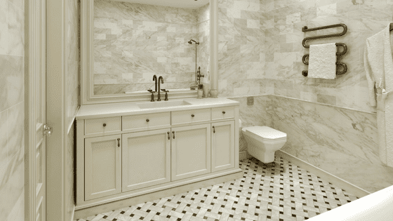 Mixed Texture and Pattern Bathroom Design